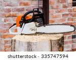Close Up View Of Chainsaw On...