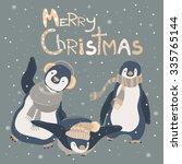 funny penguins friends... | Shutterstock .eps vector #335765144