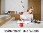 young woman with documents and... | Shutterstock . vector #335768408