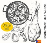 catalonia food in the sketch... | Shutterstock .eps vector #335768720