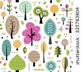 autumn trees pattern...   Shutterstock . vector #335783804