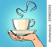 hot coffee cup woman hand pop... | Shutterstock .eps vector #335802203