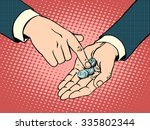 the little coins in his hand... | Shutterstock .eps vector #335802344