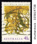 Small photo of AUSTRALIA - CIRCA 1990: A stamp printed in the Australia shows Golden Wattle, Acacia Pycnantha, Australia Day, circa 1990