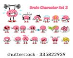 set of brain cartoon character... | Shutterstock .eps vector #335822939
