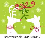 reindeer with holly and berries ... | Shutterstock .eps vector #335830349