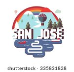 san jose in colourful poster... | Shutterstock .eps vector #335831828