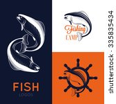 set of vintage fish logos with...   Shutterstock .eps vector #335835434