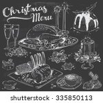 hand drawn christmas menu on... | Shutterstock .eps vector #335850113
