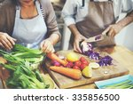 family cooking kitchen...   Shutterstock . vector #335856500
