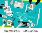 diverse businesspeople working  ... | Shutterstock .eps vector #335862806