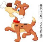 Cartoon Funny Dog With Bone...