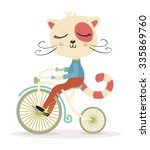 cute cat with a bike vector... | Shutterstock .eps vector #335869760