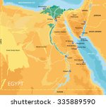 vector color map of egypt with... | Shutterstock .eps vector #335889590
