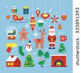 christmas holiday flat stylish... | Shutterstock .eps vector #335891393