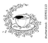 vector illustration with cup of ... | Shutterstock .eps vector #335901113