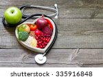 healthy food in heart and