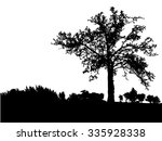 silhouette of tree  bush with... | Shutterstock .eps vector #335928338
