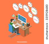 programming flat isometric... | Shutterstock . vector #335928680