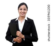 young businesswoman holding...   Shutterstock . vector #335961200