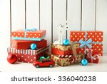 christmas gifts on wooden... | Shutterstock . vector #336040238
