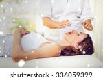 snow against calm woman... | Shutterstock . vector #336059399