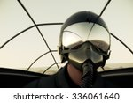 Pilot Wearing Mask And Helmet...