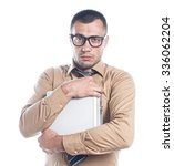 Small photo of Businessman with protective case, isolated on white. Man holding alumium coffer