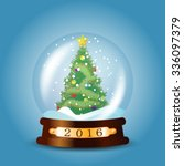 christmas snow globe with... | Shutterstock .eps vector #336097379