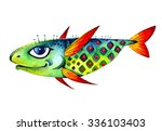 vector flying strange cartoon... | Shutterstock .eps vector #336103403