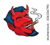 laughing devil face smoking... | Shutterstock .eps vector #336106790