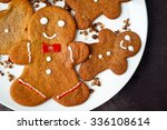 gingerbread man on a while... | Shutterstock . vector #336108614