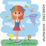 flat little girl | Shutterstock .eps vector #336118424