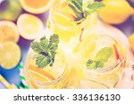 infused water with fresh citrus ... | Shutterstock . vector #336136130