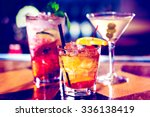 Stock photo colorful cocktails on the bar table in restaurant 336138419