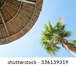 Palm Tree And Straw Umbrella...