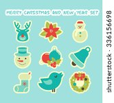 set of flat christmas and happy ... | Shutterstock .eps vector #336156698