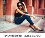young beautiful brunette girl... | Shutterstock . vector #336166700