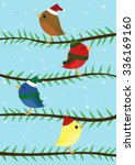 four colorful christmas birds | Shutterstock .eps vector #336169160