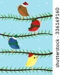 four colorful christmas birds