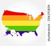 rainbow flag in contour of usa. ... | Shutterstock .eps vector #336191834