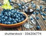 sloe gin. glass of blackthorn... | Shutterstock . vector #336206774