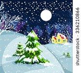 houses  winter landscape  snow  ... | Shutterstock .eps vector #336210866