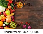 heap of fruits and vegetables... | Shutterstock . vector #336211388
