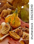 Small photo of Selection of autumn decoration accessories with pineal, small marrow, leaves.