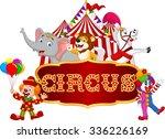 cartoon happy animal circus... | Shutterstock .eps vector #336226169