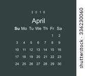 calendar april 2016 vector... | Shutterstock .eps vector #336230060