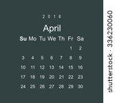 calendar april 2016 vector...   Shutterstock .eps vector #336230060