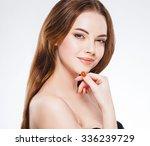 beautiful woman face close up... | Shutterstock . vector #336239729