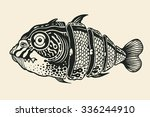 hand drawn fish cut into slices ... | Shutterstock .eps vector #336244910